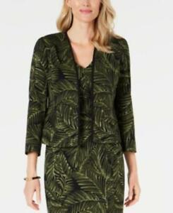 Kasper Collarless Printed 3/4-Sleeve Blazer (Green, Size 12)