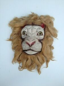 A rare antique lion theatre mask with moving jaw