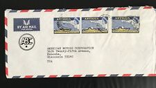 Antigua commercial cover Topic Map ship Deep Water Harbour 3 stamp