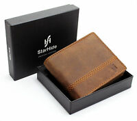 Starhide Gents RFID BLOCKING Distressed Brown Genuine Leather Bifold Wallet 1150