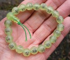 SOFT GREEN BEADS POWER BRACELET CHINESE SYMBOLS OF LUCK GOOD FORTUNE BAG & CARD