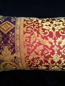 """Luxury red gold and purple designer oblong cushion cover 27""""x12"""""""