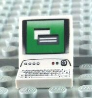 LEGO COMPUTER MONITOR & KEYBOARD TILES ~ Printed White Finishing Tile  ** NEW **