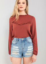 Womens Long Sleeve Frill Detail Rust Top Blouse Sizes 6 to 16