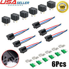 6 Pack-12V 30A Fuse Relay Switch Harness Set SPST Car 4 Pin 14 AWG Hot Wires US