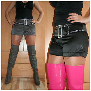melrose Hot Pants Shorts Satin schwarz oder silbergrau Stretch