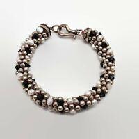 Sterling Silver Freshwater Pearl & Glass Bead Bracelet