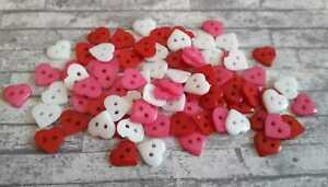 Love Heart Buttons x50 Small Red White Pink Wedding Embellishments Decoration UK