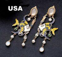 US Seller Betsey Johnson Metallic Jewel Fish Dangle Earrings Blue Yellow Pearl