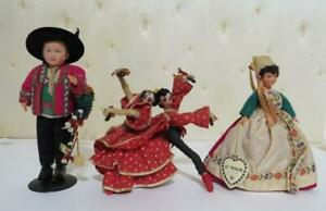 3 Dolls Cultures & Ethnic Doll lot Le Minor French, Philippe, Spanish Dancers