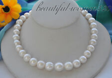 z4908 Big 15mm white round Freshwater cultured pearl necklace 17inch