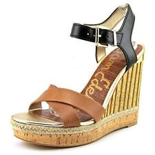 Buckle Wedge High (3 to 4 1/4) Heel Height Solid Sandals for Women