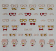Pink Glasses & Moustache 3D Nail Art Stickers Transfers Decals Buy 2 Get 1 Free