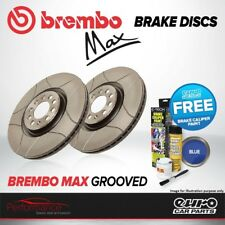 Brembo Max Front Vented High Carbon Grooved Brake Disc Pair Discs x2 09.7629.75