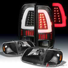 For 97-03 F150, 97-99 F250LD Black Headlights Set + Light-Bar LED Tail Lights