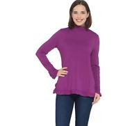 Isaac Mizrahi Live! Long Sleeve Mock Neck Knit Tunic with Ruffle Hem Purple 1X A