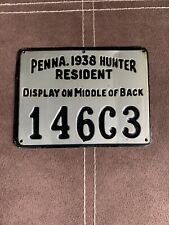 1938 Metal Pa Pennsylvania Resident Hunting License PGC Game Commission #754B0