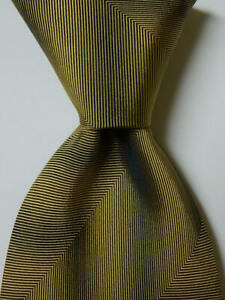 ERMENEGILDO ZEGNA Men's 100% Silk Necktie ITALY Designer CHEVRON Gold/Black GUC
