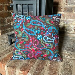 75. Paisley on Brown LINEN Cotton Cushion Cover.Various sizes
