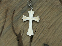 Sterling silver Faceted Cross Pendant with Chain Necklace