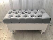Truhe Sitzbank mit Stauraum Sitzhocker Betthocker Pouf Crystal Lederknöpfe NEU