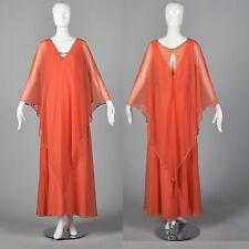 XL Vintage 1970s 70s Estevez Flowy Maxi Dress Evening Gown Loose Coral Cape