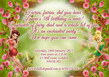 10 x Personalised Birthday Invitations/Thank you Cards Fairies Tinker Bell