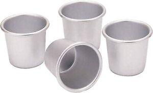 Set Of 4, Aluminium Pudding Dariole Dessert Moulds, Baking Cups Muffin Tin