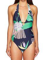 Trina Turk Womens Swimwear Blue Size 8 Tropical Halter One Piece $140 159