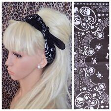 Noir blanc crâne en coton imprimé bandana tête cheveux foulard rockabilly pin up