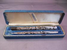 Morrison's Vintage Sterling Silver Fountain Pen Set---flexible medium nib