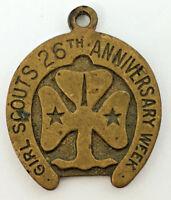 1938 Girls Scouts 26th Anniversary Week Brass Horseshoe Pendant
