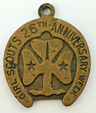 More details for 1938 girls scouts 26th anniversary week brass horseshoe pendant
