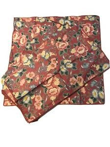 Vintage Set of 4 Country Quilted Rose Pink Victorian Floral Cloth Napkins Dark