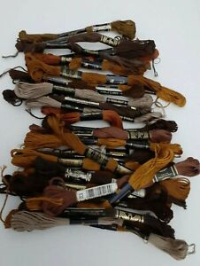 Lot Of 30 DMC Floss Cotton Embroidery Thread Shades of Brown France