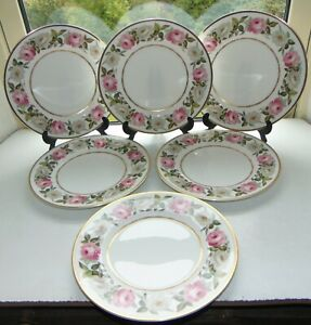 Royal Worcester Royal Garden 6 x Dinner Plates 27cm Pink and White Roses