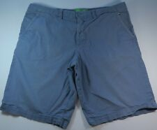 Hugo Boss Neon Green Label Cotton Solid Blue Regular Fit Casual Shorts Size 40 R