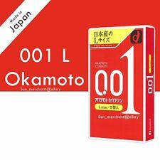 Okamoto Zero One 001 L Size Large Ultra Thin 0.01 mm Condom 3 Pcs (US Seller)