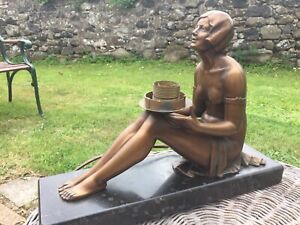ART DECO 1930s Cold Painted Spelter Lady TABLE LAMP