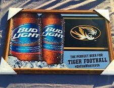 "Bud Light University Of Missouri Tigers Football NCAA Beer Bar Mirror ""New"""