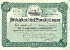 DELAWARE Philadelphia & Gulf Steamship Company Stock Certificate 1909