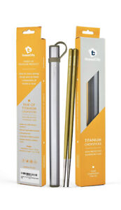 Finess City - One Pair of Gold Coloured Titanium Chopsticks With Aluminium Case