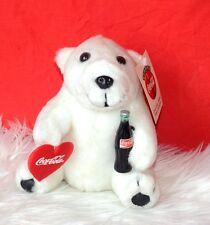Coca Cola Vintage Polar Bear Plush Holding Heart Coke Bottle 1993