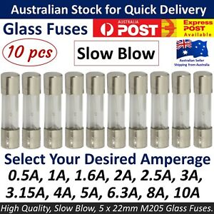 10Pcs M205 Glass Fuse 5mm x 20mm Slow Blow 250V / Select From 0.5A to 10A  amp