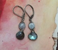 Labradorite Drops Oxidized Sterling Silver Wire Wrap Dangle Earrings Handcrafted