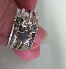 Silver Spinner Ring. Moonstone & Peridot. Meditation. Size O.   ref:xaed