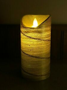 """6"""" Flameless Candle Special Occasion Gold flame actually flickers no flame"""