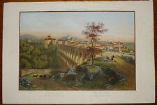 Stampa antica old print Benoist Ponte dell'Ariccia gravure 1870 castelli romani