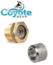 """3/4"""" NPT Brass Sight Glass and 304 Stainless Weld Bung Gas Oil Tank Coyote Gear"""