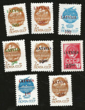 INDEPENDENT LATVIA PROVISIONAL OVERPRINTS ON SOVIET NATIONAL ARMS MINT STAMPS